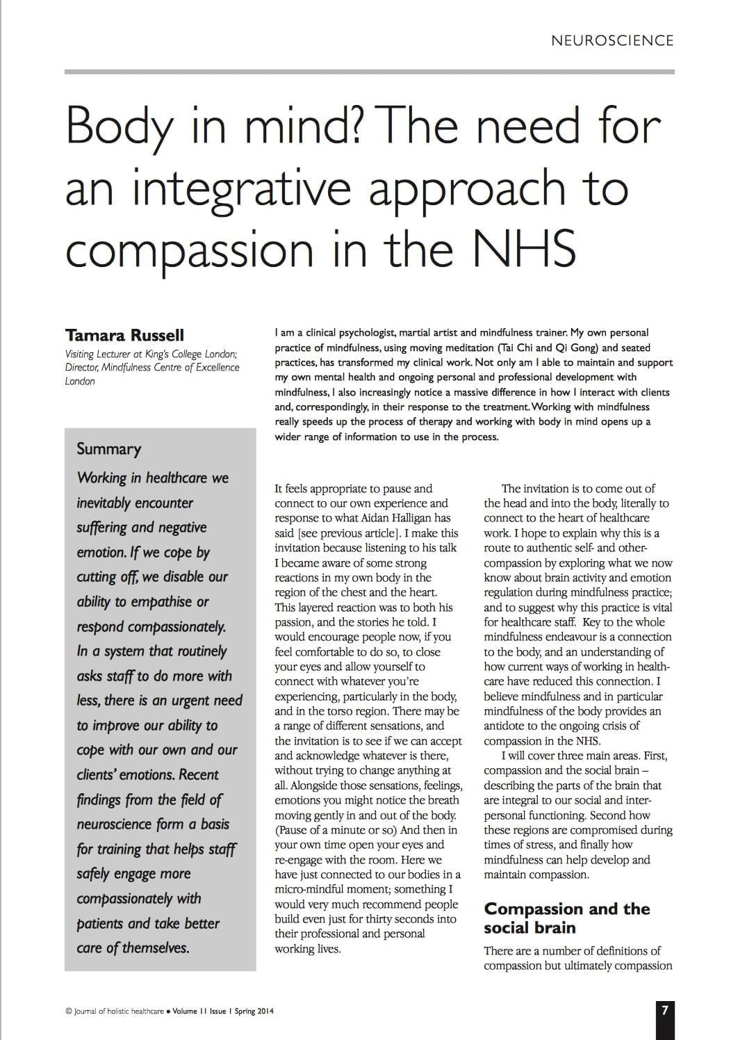 11.1.2 integrative compassion in NHS