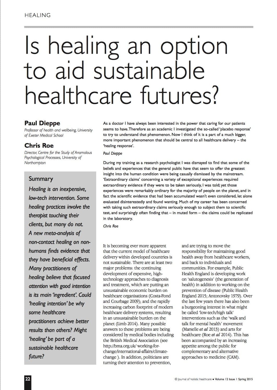 Is healing an option to aid sustainable healthcare futures?
