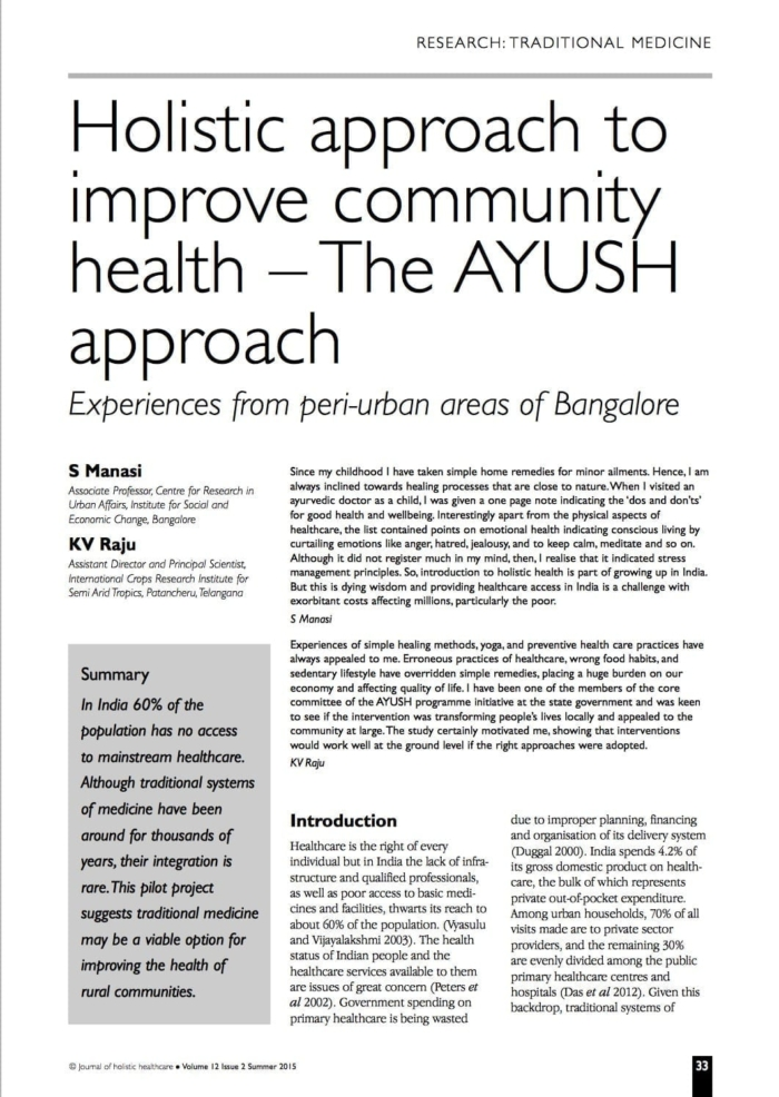 Holistic approach to improve community health – The AYUSH approach:  Experiences from peri-urban areas of Bangalore