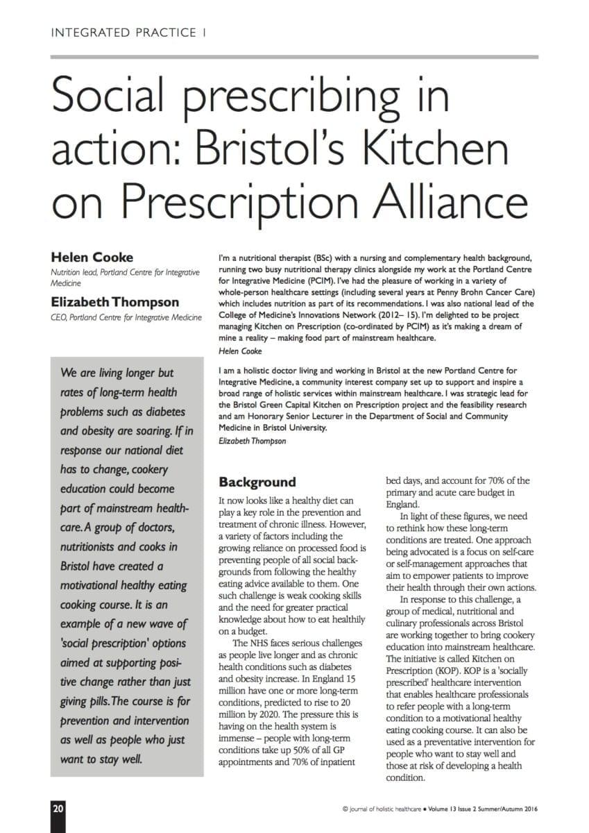 13.2.06 Bristol's Kitchen on Prescription Alliance