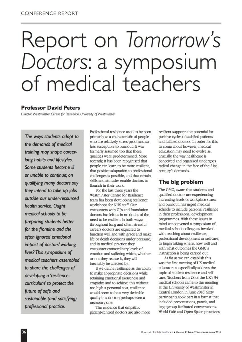 13.2.10 Report on Tomorrow's Doctors